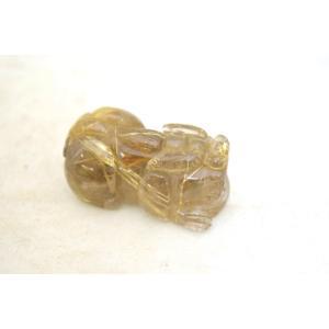 貔貅 ヒキュウ 金針水晶 ルチルクオーツ 天然石置物 商売繁盛 小|ryu|04