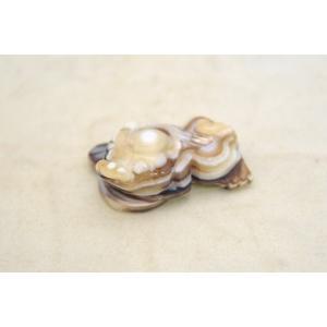 貔貅 ヒキュウ 天眼石 マーブル模様 天然石置物 商売繁盛 薄茶 小|ryu