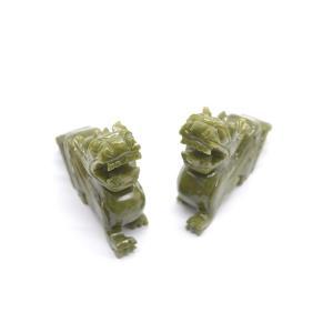 貔貅 ヒキュウ ペア 緑玉石 天然石置物 中 金運 財運 商売繁盛|ryu
