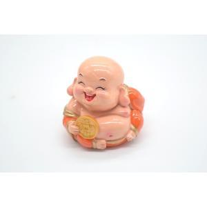 笑佛様 布袋 笑仏 古銭 樹脂製置物 カラフル マスコット 小|ryu