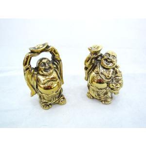 裕福 財運 富の象徴 笑佛様 布袋 笑い仏 笑仏 ねり製置物 メタリック調 2体セット ryu