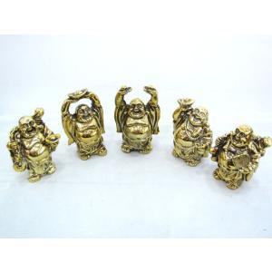 裕福 財運 富の象徴 笑佛様 布袋 笑い仏 笑仏 ねり製置物 メタリック調 5体セット ryu