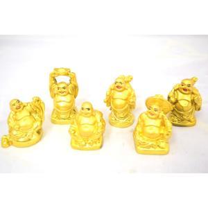 特価!裕福 財運 富の象徴 笑佛様 布袋 笑い仏 笑仏 金運 小 6点セット ねり製置物 ryu