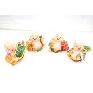 笑佛様 布袋 笑仏 如意棒 瓢箪 芭蕉扇 古銭 樹脂製置物 カラフル マスコット 四体セット 開運 中|ryu