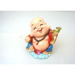 裕福 財運 富の象徴 笑佛様 布袋 笑い仏 笑仏 金運 財運 ねり製置物 如意棒 中 9cm ryu