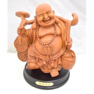 笑佛様 布袋 笑い仏 笑仏 木彫り風 樹脂製置物 ライトブラウン 金運 裕福 財運 富の象徴|ryu
