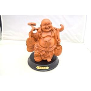笑佛様 布袋 笑い仏 笑仏 木彫り風 樹脂製置物 ライトブラウン 裕福 富の象徴 中|ryu