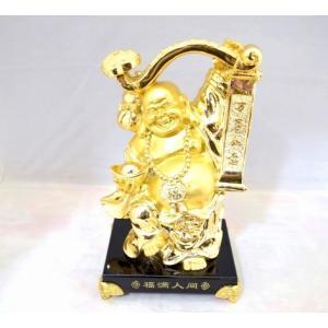 笑佛様 布袋 笑い仏 笑仏 如意棒 樹脂製置物 金 裕福 富の象徴 中|ryu