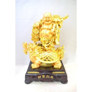 笑佛様 布袋 笑い仏 笑仏 如意棒 龍亀 樹脂製置物 台座付き 黄金 特大|ryu