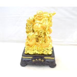 笑佛様 布袋 笑い仏 笑仏 龍 如意棒 台座付き 樹脂製置物 金 大|ryu