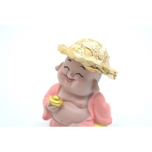 笑佛様 布袋 笑仏 彩色済み 選べる2種類 帽子つき 樹脂製置物 マスコット|ryu|11