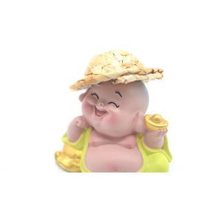 笑佛様 布袋 笑仏 彩色済み 選べる2種類 帽子つき 樹脂製置物 マスコット|ryu|06