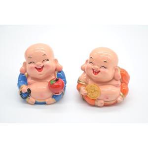 笑佛様 布袋 笑仏 りんご 古銭 樹脂製置物 カラフル マスコット 二体セット 小|ryu