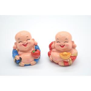 笑佛様 布袋 笑仏 りんご 元宝 樹脂製置物 カラフル マスコット 二体セット 小|ryu