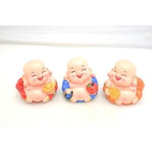 笑佛様 布袋 笑仏 りんご 元宝 古銭 樹脂製置物 カラフル マスコット 三体セット 小|ryu