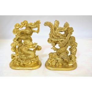 龍 鳳凰 銅製置物 ペアセット 縦長型 中|ryu