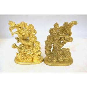 龍 鳳凰 銅製置物 ペアセット 縦長型 中|ryu|05