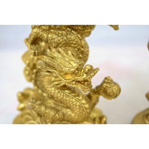 龍 鳳凰 銅製置物 ペアセット 縦長型 中|ryu|07