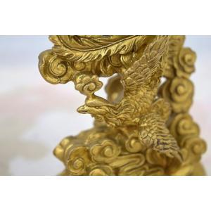 龍 鳳凰 銅製置物 ペアセット 縦長型 中|ryu|08