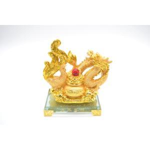 龍 鳳凰 金色 ガラス台座 聚宝盆 樹脂製置物 15cm|ryu