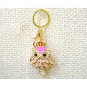 【メール便OK】 フクロウ 梟 七宝焼き キーホルダー 金属製 ラインストーン ピンク|ryu