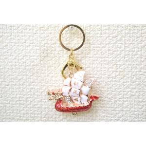 【メール便OK】 龍船 七宝焼き キーホルダー 一帆風順 金属製 赤|ryu
