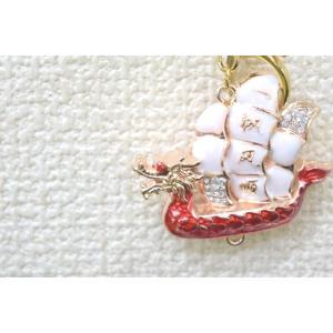 【メール便OK】 龍船 七宝焼き キーホルダー 一帆風順 金属製 赤|ryu|04