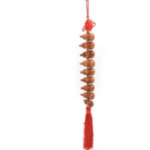 瓢箪 ひょうたん 木彫り 9連 吊るし物 赤 42cm|ryu