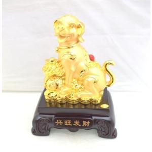 戌 犬 樹脂製置物 元宝 金袋 中 財運 2018年 十二支|ryu
