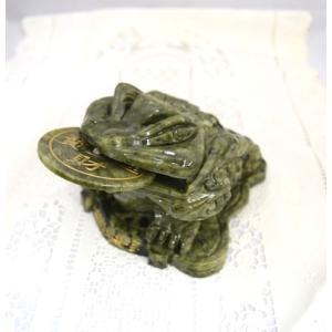 三脚蟾蜍 さんきゃくせんじょ 三本脚の蛙 緑玉石製 風水置物 大 商売繁盛 金運 財運|ryu