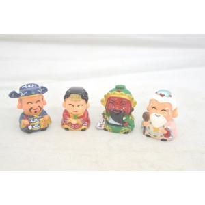 月下老人 関羽 文昌帝君 媽祖 樹脂製置物 カラフル 神様マスコット人形 四個セット 小|ryu