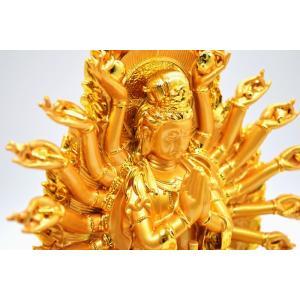 千手観音 仏像 樹脂製置物 台座付き 黄金色 大 ryu 11