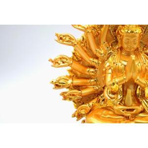 千手観音 仏像 樹脂製置物 台座付き 黄金色 大 ryu 12