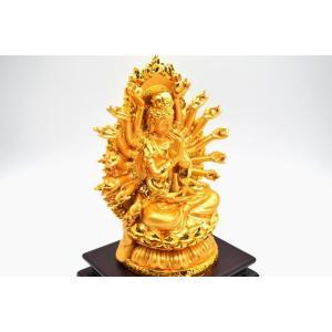千手観音 仏像 樹脂製置物 台座付き 黄金色 大 ryu 07