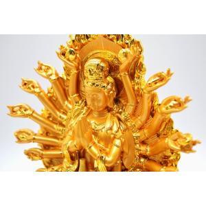 千手観音 仏像 樹脂製置物 台座付き 黄金色 大 ryu 09