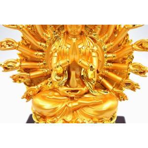 千手観音 仏像 樹脂製置物 台座付き 黄金色 大 ryu 10