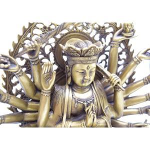 千手観音 仏像 銅製置物 台座付き 黄金色 大|ryu|11
