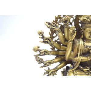 千手観音 仏像 銅製置物 台座付き 黄金色 大|ryu|12