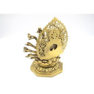千手観音 仏像 銅製置物 台座付き 黄金色 大|ryu|04