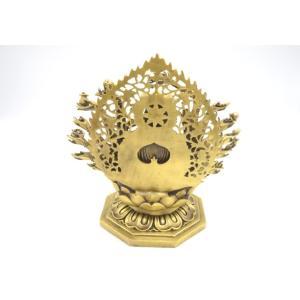 千手観音 仏像 銅製置物 台座付き 黄金色 大|ryu|05