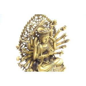 千手観音 仏像 銅製置物 台座付き 黄金色 大|ryu|07