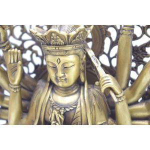 千手観音 仏像 銅製置物 台座付き 黄金色 大|ryu|09
