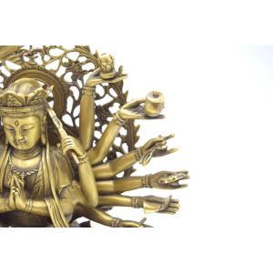 千手観音 仏像 銅製置物 台座付き 黄金色 大|ryu|10