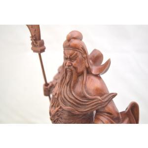 関羽 樹脂製置物 開運 風水 木彫り風 インテリア 小 ビジネスの神様|ryu