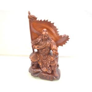 関羽 樹脂製置物 旗開得勝 開運 風水 木彫り風 インテリア 小 ビジネスの神様|ryu