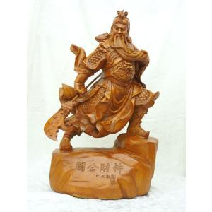 関羽 樹脂製置物 木彫り風 ビジネスの神様 開運 風水インテリア 大|ryu