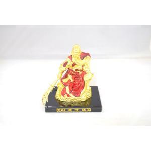 関羽 樹脂製置物 武器持ち ビジネスの神様 金 赤 小|ryu