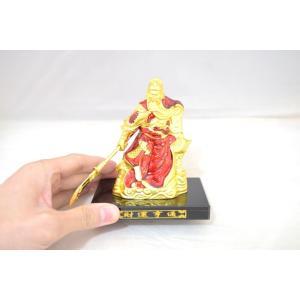 関羽 樹脂製置物 青龍偃月刀 ビジネスの神様 金 赤 小|ryu|05