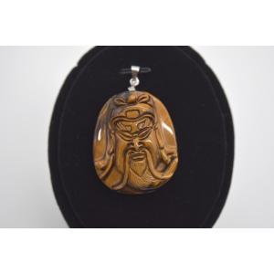 関羽彫りプレート ペンダントヘッド タイガーアイ 虎目石 パワーストーン 天然石パーツ 3.7cm|ryu