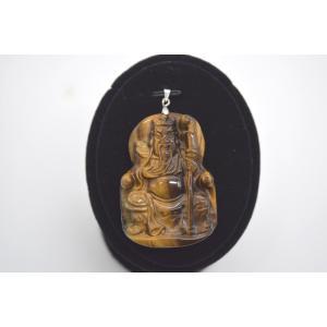関羽彫りプレート ペンダントヘッド タイガーアイ 虎目石 パワーストーン 天然石パーツ 5cm|ryu
